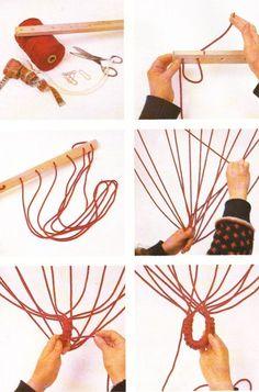 Se trata, sin duda, de uno de los objetos mas envidiables que puede construirse con la técnica del macramé. Y su factura, en contra de lo qu... Indoor Hammock Bed, Baby Hammock, Rope Knots, Macrame Knots, Paracord Projects, Macrame Projects, Crochet Hammock, Macrame Chairs, Cute Room Ideas