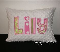 Girls Hot Pink and Green Pillow  Personalized by SnugglesofLove