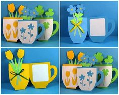 Great idea for Mother's Day. The stamp would be difficult to replicate but students could paint a design (monochromatic--to match cup and floral color choice) on the front of the cup. Diy And Crafts, Crafts For Kids, Arts And Crafts, Paper Crafts, Classroom Art Projects, Paper Artwork, Mothers Day Crafts, Spring Crafts, Diy Cards