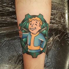 """#falloutfriday Vault Boy tattoo by @jgunstattoo #fallout #bethesdasoftworks #fallouttattoo #videogametattoo Thanks again Jonni!!! """