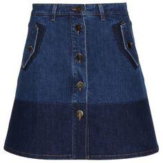 Valentino Denim Skirt ($945) ❤ liked on Polyvore featuring skirts, bottoms, blue, knee length denim skirt, valentino skirt, blue skirt, denim skirt and blue denim skirt