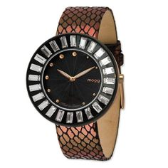 Rose/blk-pltd Crystl Blk Dial Watch Metallic Band by Moog Watches