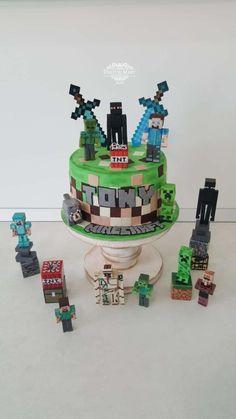 by Torturi Mary Minecraft Sword, Minecraft Toys, Minecraft Projects, Minecraft Cake, Minecraft Party, Birthday Cake Kids Boys, Minecraft Birthday Cake, 7th Birthday, Cross Cakes