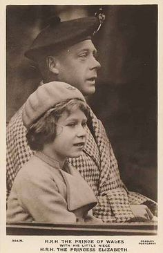 A young #Princess Elizabeth of York ,with her uncle, then #Prince Edward of Wales, who would later become King Edward VII.  He was the reason SHE became Queen.  After the death of her grandfather, #King George V in 1936, who was the first cousin of #Kaiser Wilhelm II of Germany, as well as #Tsar Nicholas II & Tsarina Alexandra of Russia; Edward would relinquished the throne to marry American, Wallis Simpson after only 326 days of rule.  After his abdication, he was created #Duke of Windsor