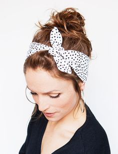 Dolly Bow Polka Dot Headband White Black Rockabilly Bandana Hair Accessories Women's Fashion Vintage Style Vintage Style Creme de la