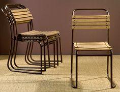 vintage industrial oak wood slat metal stacking chair