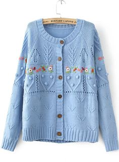 Blue Long Sleeve Embroidered Buttons Knit Sweater - Sheinside.com