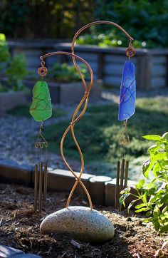 Wind Chime Freestanding Sea Glass, Copper, Beach Stone