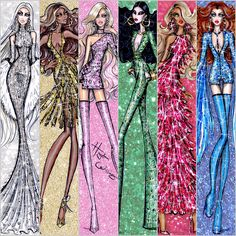 Hayden Williams Fashion Illustrations | 'Dazzling Divas' collection by Hayden Williams.