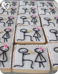 These are so darn cute!!!! Since all i can draw is stick figures, I might actually be able to make these successfully hahaha. Engagement party cookies...