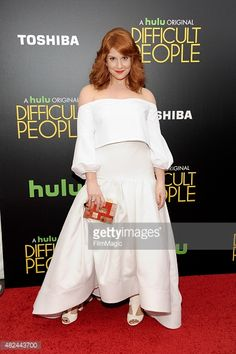 Julie Klausner clutches a #RafeMinaudiere as she attends the 'Difficult People' New York Premiere at the School of Visual Arts Theater on July 30, 2015 in New York City.