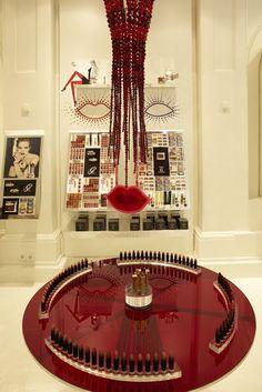 Lipsticks on display inside the Guerlain pop-up shop