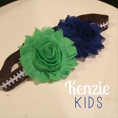 Handcrafted headband by Kenzie Kids Boutique- Seattle Seahawks theme