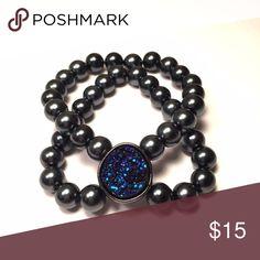 Blue & Onyx Druzy Bracelet Double stranded bracelet adorned with a blue.& onyx druzy stone. One size fits all REPURPOSE bracelets Jewelry Bracelets