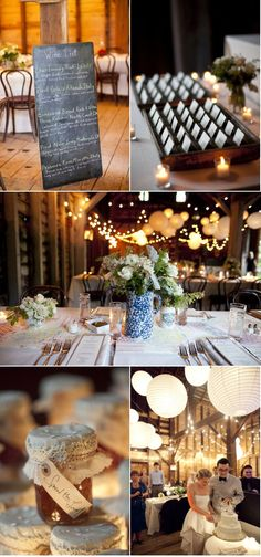 I like most of the elements of this shabby chic country wedding reception.  Combining my desire for the outdoor reception with the barn, inspires me to find a barn-esque gazebo.  I really like the jam filled mason jars with doily on top.