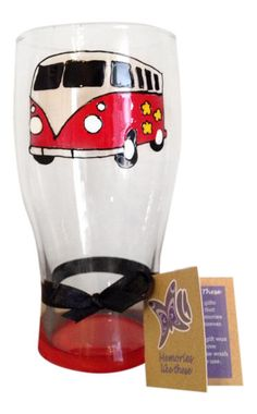 Red VW Camper Van Split Screen Hand Painted Pint Glass, Cool Gift For Him Who Surfs | eBay