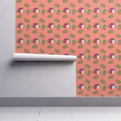 Rose pattern on orange on Isobar by diseniaz Perfect Wallpaper, Design 24, Cloth Napkins, Custom Wallpaper, Textured Walls, Installation Art, Spoonflower, How To Apply, Posters