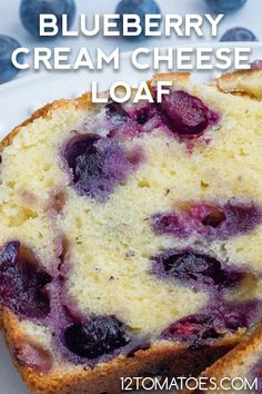 Blueberry Cream Cheese Loaf - - As easy to eat as it is to make! Blueberry Desserts, Köstliche Desserts, Delicious Desserts, Blueberry Recipes For Two, Blueberry Breakfast Cakes, Blueberry Quick Bread, Blueberry Loaf Cakes, Blackberry Recipes, Blueberry Cobbler