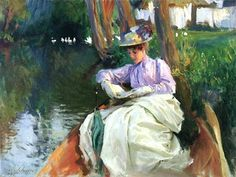 John Singer Sargent (American expatriate artist, 1856-1925) By the River.