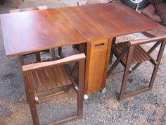 Skinny Drop Leaf Dining Table w/ 4 Hideaway Wood C