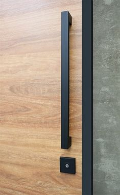 Entry pull handle set in matte black finish. Complete with everything needed for the modern door and pivot doors.Ideal for when you want the handle to sit above the lock. - April 20 2019 at Timber Front Door, Black Front Doors, Modern Front Door, House Front Door, Front Door Design, Modern Door Design, Front Door Locks, Modern Entry, Solid Doors