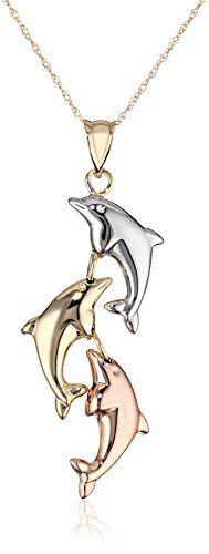 "10k Gold Tri-Color Dolphin Pendant Necklace, 19.35"""