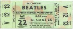 A reproduction of a ticket from the Beatles concert at the PNE in Vancouver at Empire Stadium, August 22, 1964.
