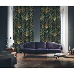 Art Deco No:3 Gold Light-Dark Green 2 Panel Curtain