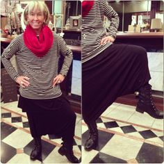 Linda rocked our Sister Moses Black Harem Pants ($38), Long Black Top and our Spring Stripe Tee! Pop with a red furry scarf and you are instant fashionista!