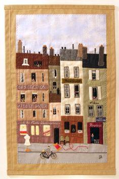 House Quilt Block, House Quilts, Boy Quilts, Mini Quilts, Textiles, Country Quilts, Fabric Pictures, Applique Fabric, Landscape Quilts