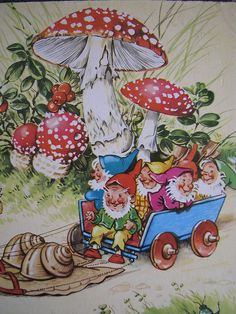 Illustration from 'The Jolly Dwarfs', published by Brimax Books, England. Printed in Western Germany.  Snail-wagon.  :)