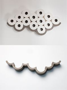 Cloud - toilet paper shelf. Cloud is a smart, poetic storage solution for toilet paper rolls. Made of concrete, it's designed by Bertrand Jayr for Lyon Beton.