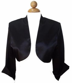 Elegant 3/4 Length Black Satin Bolero Jacket Black Wedding Shrug Bridal jacket $49.99