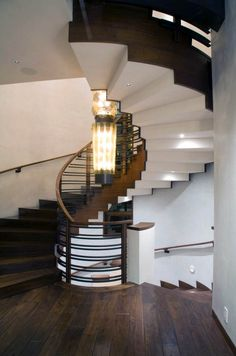 This striking mountain retreat was created by design studio James Thomas Interiors along with architects Michael Blash and Associates, located in Sun Valley, Idaho. Spiral Staircase Dimensions, Spiral Staircase Kits, Grand Staircase, Spiral Staircases, Interior Staircase, Staircase Design, Interior Architecture, Idaho, Take The Stairs