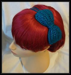 Crocheted 2 Strand Headband with Bow