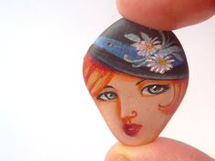 Painted stone portrait on stone beach painted pebble by sabiesabi, $10.00