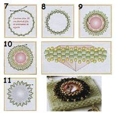 браслет из квадратов, мозаичное плетение, схема, оплетение риволи , мастер-класс