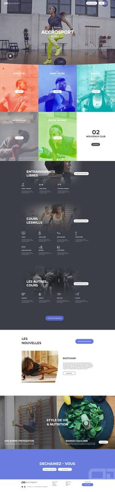 Home Design Drawing Home Page - Fitness Club by Barthelemy Chalvet - Layout Design, Web Layout, Page Design, Image Layout, Wireframe, Urban Sport, Fitness Club, Ecommerce, Squat
