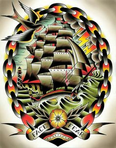 Fear II by Tyler Bredeweg Classic Tattoo Ship Art Design Giclee Print – moodswingsonthenet Traditional Tattoo Canvas, Traditional Ship Tattoo, Traditional Sleeve, Traditional Flash, Tattoo Shirts, New Tattoos, Sleeve Tattoos, Ship Tattoos, Dragon Tattoos