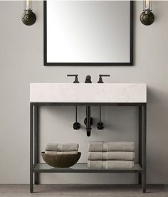 Ideas For Bath Room Vanity Single Sink Restoration Hardware Downstairs Bathroom, Bathroom Renos, Bathroom Inspo, Bathroom Cabinets, White Bathroom, Bathroom Furniture, Bathroom Inspiration, Small Bathroom, Master Bathroom
