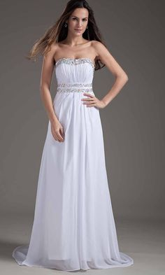 Open Back White Strapless Sequin Prom Dresses KSP355