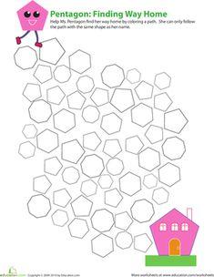 Third Grade Geometry Worksheets: Five-sided Polygon: Identifying Pentagons Shapes Worksheet Kindergarten, Maths Puzzles, Preschool Shapes, Kindergarten Class, Preschool Math, Preschool Worksheets, Geometry Worksheets, Shapes Worksheets, Math Games