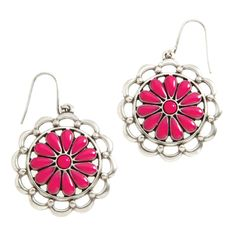 """Daisy-Pink Drop Earrings    $15.00    Slip these retro cool earrings on and just try not to smile. These bold blooms are instant happiness makers! Daisy Collection    •  Silver tone  •  Hook earring •  1.25"""" length"""
