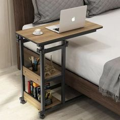Tribesigns Snack Side Table, Mobile End Table Height Adjustable Bedside Table Laptop Rolling Cart C Shaped Tv Tray With Storage Shelves For Sofa Couch on Home Shelves Ideas 1750 C Table, Chair Side Table, Couch Table, Tv Tray Table, Bed Side Table Ideas, Couch Tray, Tv Trays, Corner Table, Bed Table On Wheels