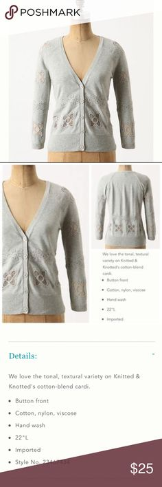 Anthropologie Knitted & Knotted Hibai Cardigan S Anthropologie Knitted & Knotted Hibai Gray Crochet Cardigan Floral Appliqué • size small • 17.5 inch bust • 22 inch length • Button closure - 5 • 55% cotton 38% nylon 7% viscose • Very good preloved  condition, no imperfections, gently worn • three-quarter length sleeve • Cut out Knit floral appliqués on chest, sleeves, and back • Heathered grey Anthropologie Sweaters Cardigans