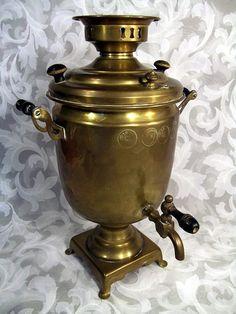$300.00 or best offer vintage Russian Brass Electric Samovar Coffee Tea Pot W/ Hallmarks