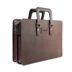 2102 top open leather briefcase - 01