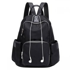 Cheap Simple Girl's Waterproof Oxford Splicing PU School Backpack Headphones Hole Travel Backpack For Big Sale! Lace Backpack, Striped Backpack, Laptop Backpack, Laptop Bags, Cute Backpacks, Girl Backpacks, College Backpacks, Leather Backpacks, Leather Bags