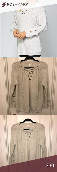 Oversized lace up sweater Oversized lace up sweater. Bought from boutique. Sweaters V-Necks