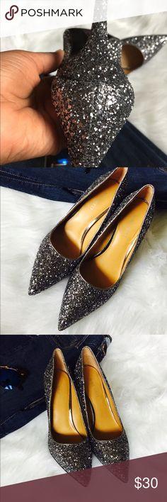 Sparkle Glitter Heels Silver Glitter heels in great condition Nine West Shoes Heels